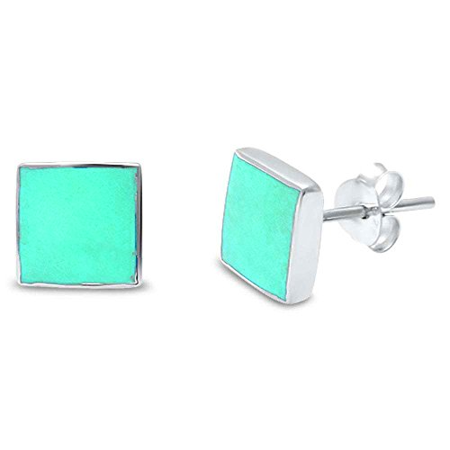 Gemstone Square Stud .925 Sterling Silver Earrings Colors Available (Simulated Turquoise) (Turquoise Diamond Stud)