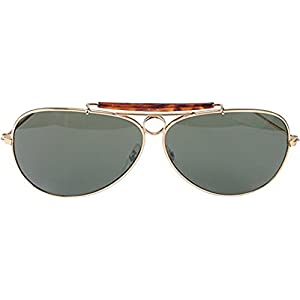 Gold and Green Aviator Sunglasses