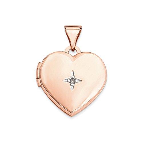 15mm Diamond Star Design Heart Shaped Locket in 14k Rose Gold -