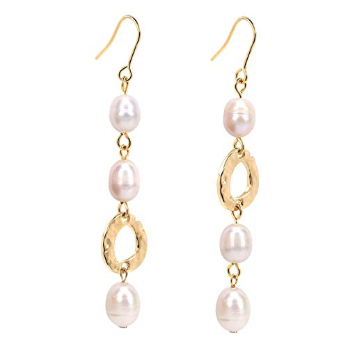 Plated Earrings Gold Brass - Dangle Pearl Earrings 14K Gold Plated Long Baroque Freshwater Gift Jewelry for Wedding Bride Bridesmaids Mother Daughter