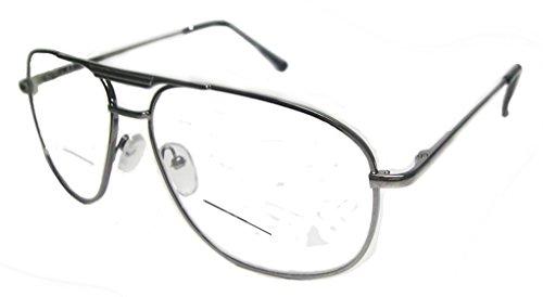 Aviator Bifocal Reading Glasses Clear Lens Vintage Square Spring Hinge (gun metal, - Glasses Bifocal Reading Aviator