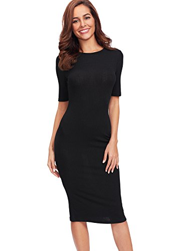 SheIn Women's Short Sleeve Elegant Sheath Pencil Dress Medium Black
