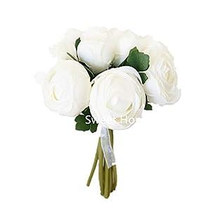 Sweet Home Deco 9'' Soft Silk Ranunculus Flower Bouquet (10 Stems/10 Flower Heads) for Wedding/Home Decorations 2