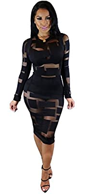 Womens Sexy Long Sleeve Mesh Splice Nude Illusion See Through Clubwear Mini Dress