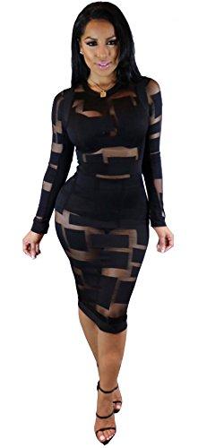 Kearia Womens Sexy Long Sleeve Mesh Splice Nude Illusion See Through Clubwear Mini Dress Black XLarge