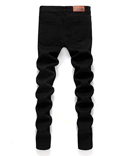 Pantaloni Nero Sottile Tempo Libero Jeans Fit Gioventù Skinny Elasticità Uomo Dritti qU7147