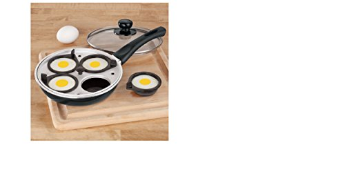 Liteaid LA-681 Fry Pan w/4 Egg Poacher Cups, Small, Black