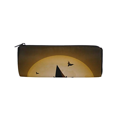 Cat On The Roof at Night Moon Students Super Large Capacity Barrel Pencil Case Pen Bag Cotton Pouch Holder Makeup Cosmetic Bag for Kids]()