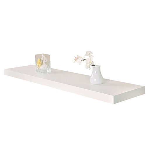 WELLAND 12-Inch Depth Houston Floating Wall Shelf, Deeper Than Others (48-Inch, White)