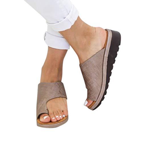 Women's Sandals Comfy Wedges Platform Slingback Thong Flip Flops Ladies Summer Beach Travel Shoes (Brown, US:8/ Size:41)