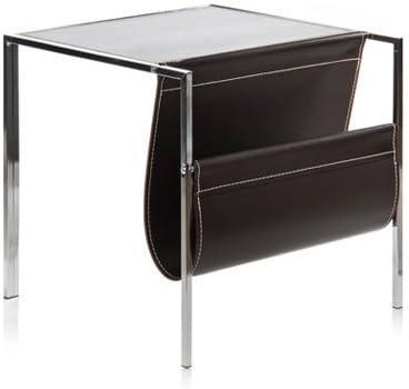 Mesa revistero REG en madera y cuero salon o comedor: Amazon.es: Hogar