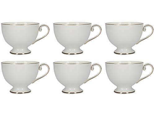 Mikasa Cameo Gold Tea Cup Set with Decorative Gold Rims, Porcelain, White, 250 ml (Set of 6 Christmas Tea Cups)