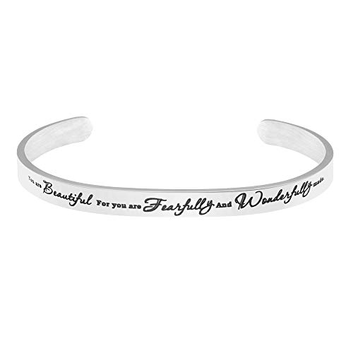 MEMGIFT Cross Bracelet Personalzed Mantra Cuff Inspirational Christian Bible Verse for Women You are Beautiful for You are Fearfully and Wonderfully Made Psalm 139:14