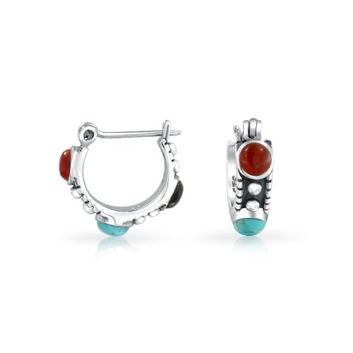 Bali Style Multi Color Stabilized Turquoise Carnelian Onyx Bead Small Huggie Hoop Earrings For Women 925 Sterling Silver ()