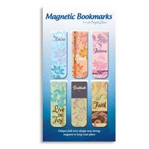GIFT SET of 6 Inspirational Magnetic BOOKMARKS/Assortment/2 1/4″ Fold over Design FAITH, Trust/BELIEVE/Gratitude/Great Gift for Readers!
