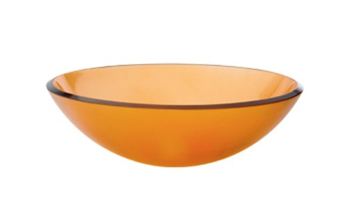 - Decolav 1000T-AM Tempered Glass Vessel, Frosted Amber