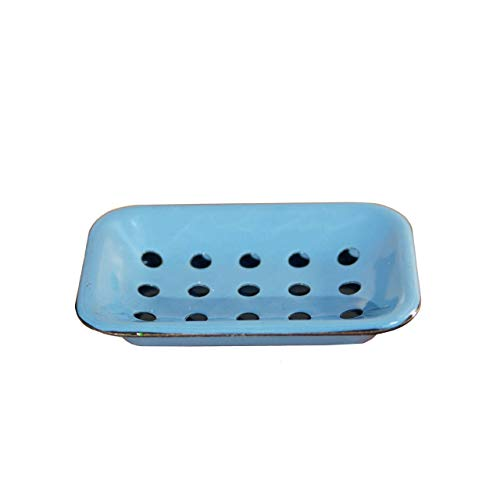 Vintage Style Metal Enamel Soap Dish w/ Drainage Holes-Blue