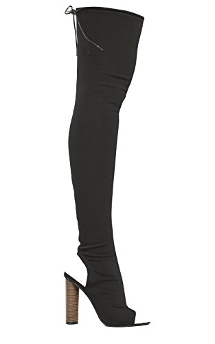 Ikrush Womens Katarina Peep Toe Knee High Boots Black KqI0ZxPg