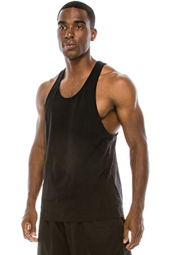 (JC DISTRO Unisex Workout Deep Cut Racer Back Muscle Black Tank Top)