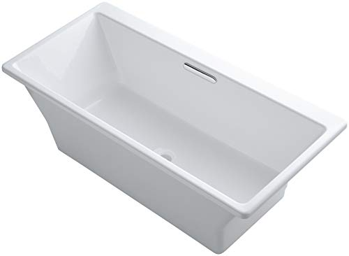 Kohler K-819-F62-0 Reve 5.5Ft Freestanding Bath with Brilliant Blanc Base, White