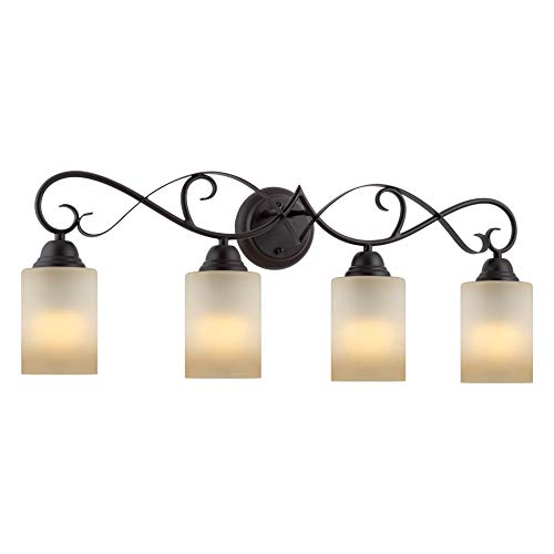 Kira Home Villa 31 Traditional 4-Light Vanity Bathroom Light Amber Frosted Glass Shades, Oil Rubbed Bronze Finish
