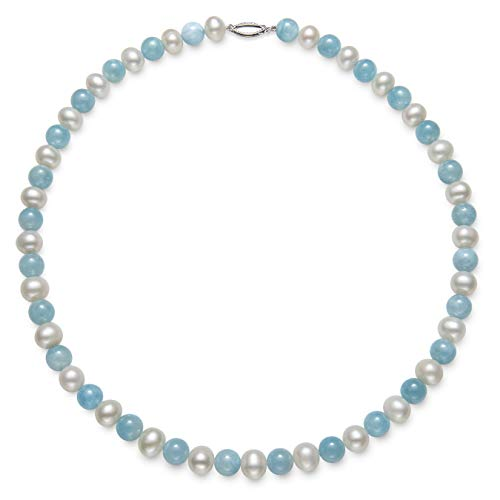 - Belacqua Sterling Silver Cultured Freshwater Pearl and Natural Milky Aquamarine Gemstone Strand Necklace, 18