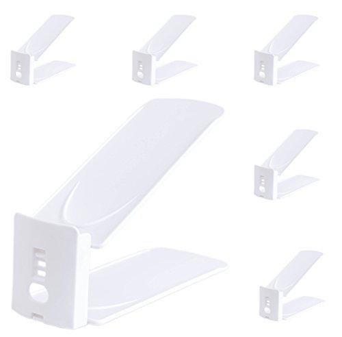 Mouselemur Shoe Slots Space Saver Shoe Slots Adjustable Detachable Stand Space Saver Organizer - Shoe Rack Storage Set of 6 - White