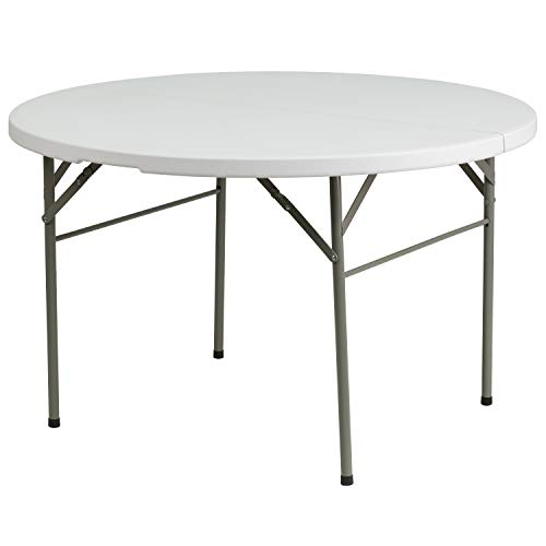 Flash Furniture 48'' Round Bi-Fold Granite White Plastic Folding Table [DAD-122RZ-GG] (Half Round Plastic Table)