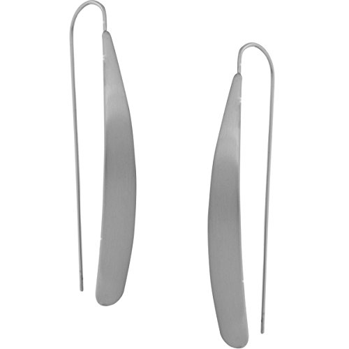 - Humble Chic Curved Flat Bar Dangles - Metallic Long Linear Tear-Drop Matte Polished Threader Earrings, Matte Silver-Tone
