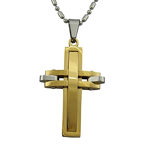 7cd089a7c090 hanessa joyas para hombres collar acero inoxidable hombre con maciza Cruz Colgante  Plata Negro