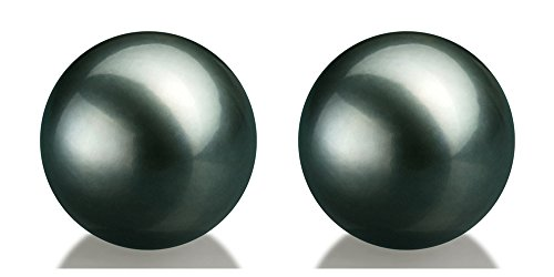 Pair of 8.8mm Tahitian Saltwater Loose AAAA Black Cultured Pearls Half Drilled for Earrings