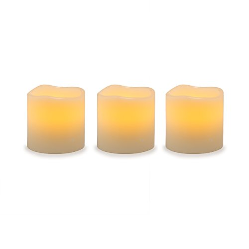 Darice Battery Operated LED Wax Pillar Candle Set, 3 Piece