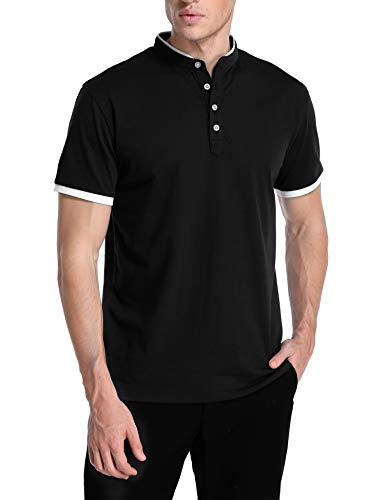 e0942581d7f TIESOME Men s Casual Polo Shirt Short Sleeve Slim Fit Contrast Color Golf  Shirts (24 Jersey Black