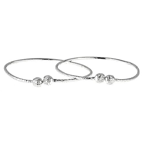 - Better Jewelry Etched Ball Ends .925 Sterling Silver West Indian Baby Bangles 5.7 Grams (Pair) (Made in USA)
