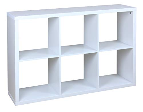 Home Basics Open Cube Organizing Wood Storage Shelf - Free Standing Bookshelf Shelving Unit with Display Unit for Livingroom, Bedroom, Toy Room, Entryway & Closet, White (6 Cubes) (Shelving Bin Unit)