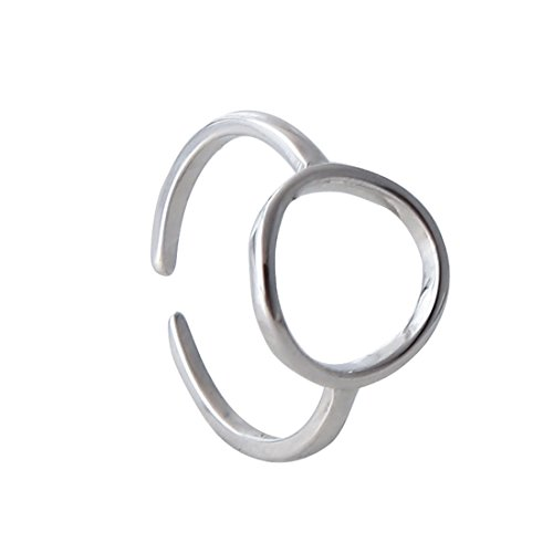 925 Sterling Silver Geometric Square Circle Heart Midi Thin Rings Adjustable Open toe Ring For Women Girls (Circle Shape)