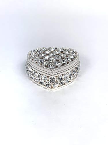 VI N VI Silver Rhinestone Heart Shaped Jewelry Box Trinket Box   Home Decoration and Jewelry Display