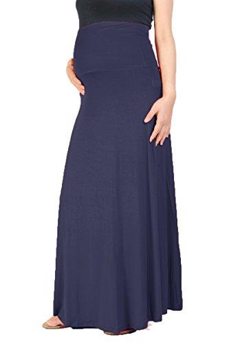 Beachcoco Women's Maternity High Waisted Fold Over Maxi Skirt (S, Navy) by Beachcoco