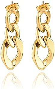Mabeju Chunky Gold Cuban Chain Earring for Women | 18K Gold-Plated Jewelry | Earrings Gift for Women
