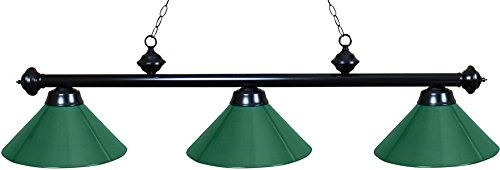 Ozone Black Pool Table Light with Green Shades by Ozone Billiards
