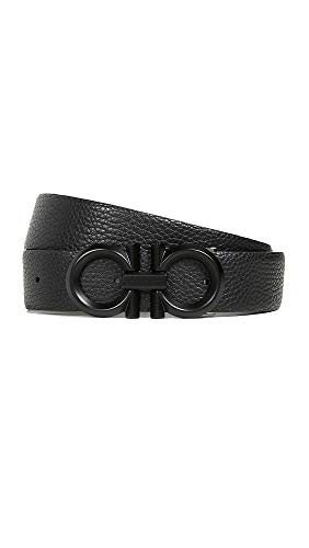 (Salvatore Ferragamo Men's Double Gancio Reversible Belt, Black/Asphalt, 34)