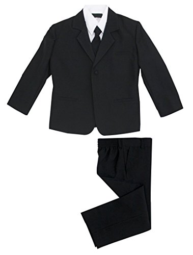 Luca Gabriel Toddler Boys' 5 Piece Classic Fit No Tail Formal Black Dress Suit Set with Tie and Vest - Size 2T ()