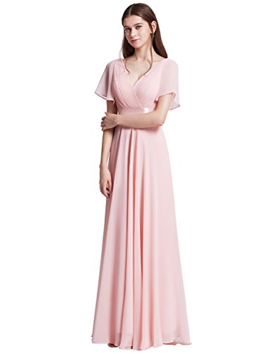 Cocktail Wedding Dress Gown - Ever-Pretty Womens Floor Length Long Chiffon Bridesmaids Dress 22 US Pink