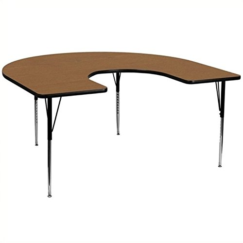 Bowery Hill 30.13'' Horseshoe Activity Table in Oak by BOWERY HILL (Image #2)