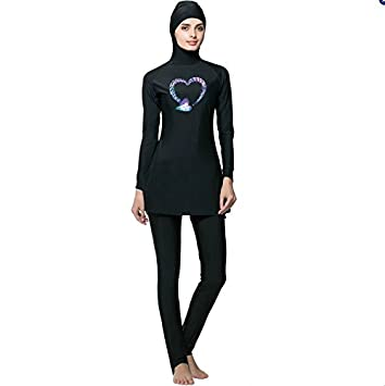 3d42a1afd1b Muslim Women Swimsuits Beach Bathing Suit Women Islamic Swimwear With  Swimming Cap (Heart, S