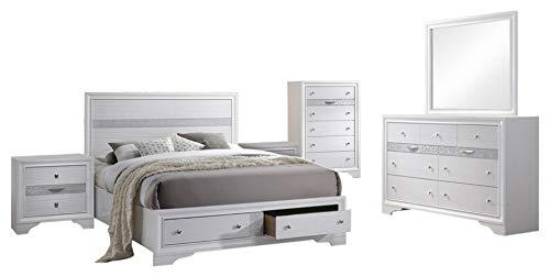 (Tokyo 6 Piece Bedroom Set, King, White Wood, Contemporary (Storage Panel Bed, Dresser, Mirror, Chest, 2)