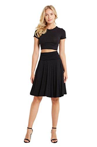 Spandex Rayon Stretch (Poshsquare Women's Fold Over High Waist Comfy Stretch Rayon Spandex Knee Length Skirt USA Black L)
