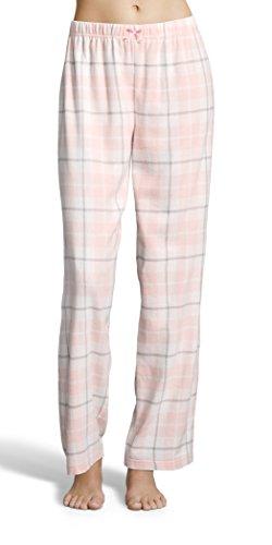 Kathy Ireland Women's Plaid Flannel Pajama Pants With Elastic Waistband and Decorative Bow Ivory Medium
