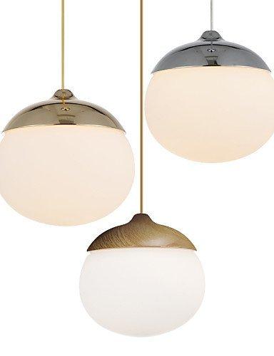 Mini Acorn Pendant Lamp 1 Light Mordern Simplicity Golden Chrome Wooden Color Finish Carbon Steel & Glass Droplight