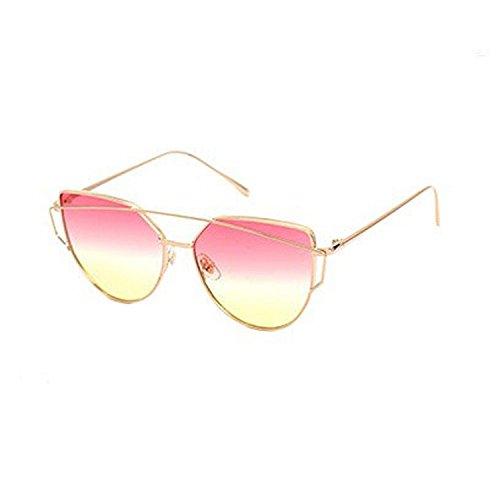 Gafas gato diseño de metal de haz mujer h clásico lujo sol de para de doble Op con marco 5Wc6SfAY